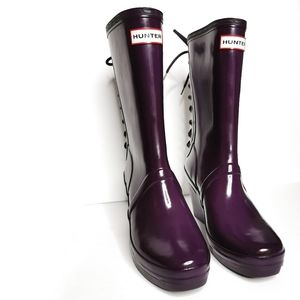 Rare Hunter Purple Wedge Lace-Up Boots